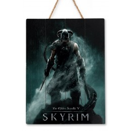 DOCTOR COLLECTOR SKYRIM DRAGONBORN WOOD PRINT