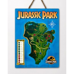 JURASSIC PARK MAP WOOD PRINT STAMPA SU LEGNO DOCTOR COLLECTOR