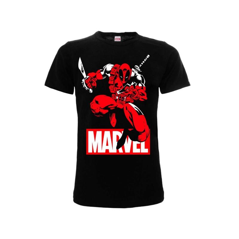 MAGLIA T SHIRT MARVEL DEADPOOL COMIC BLACK