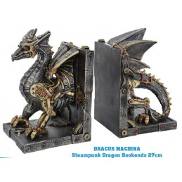 STEAMPUNK DRAGON DRACUS MACHINA BOOKENDS FIGURE FERMALIBRI NEMESIS NOW