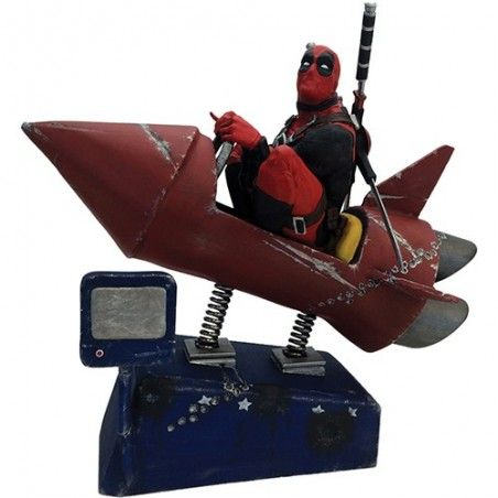 MARVEL COMICS DEADPOOL ROCKET RIDE MOTION STATUE