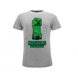 MAGLIA T SHIRT MINECRAFT CREEPER HOSTILE BEHAVIOUR