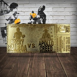 FANATTIK ROCKY 45TH ANNIVERSARY BICENTENNIAL SUPERFIGHT TICKET GOLD PLATED REPLICA 1/1