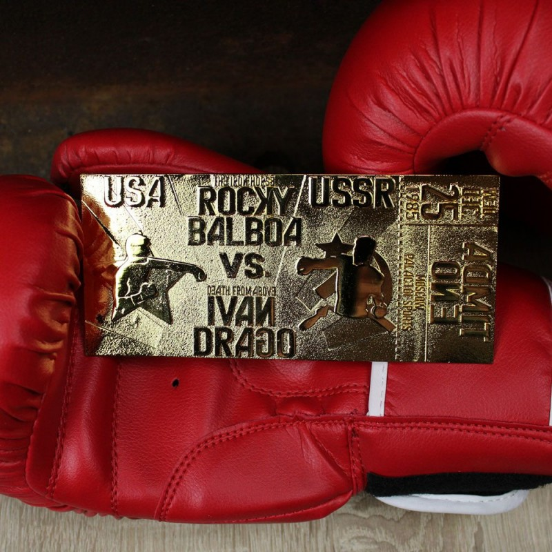 FANATTIK ROCKY IV EAST VS WEST FIGHT TICKET GOLD PLATED REPLICA 1/1