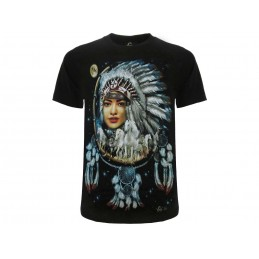 ROCK CHANG  MAGLIA T SHIRT NATIVE AMERICANS CHIEF MOTORBIKE