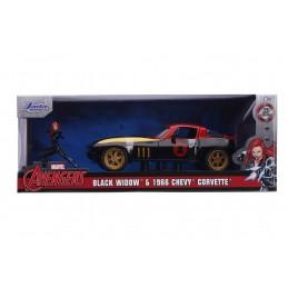JADA TOYS AVENGERS BLACK WIDOW 1966 CHEVY CORVETTE DIE CAST 1/24 MODEL CAR
