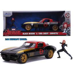 AVENGERS BLACK WIDOW 1966 CHEVY CORVETTE DIE CAST 1/24 MODEL CAR JADA TOYS