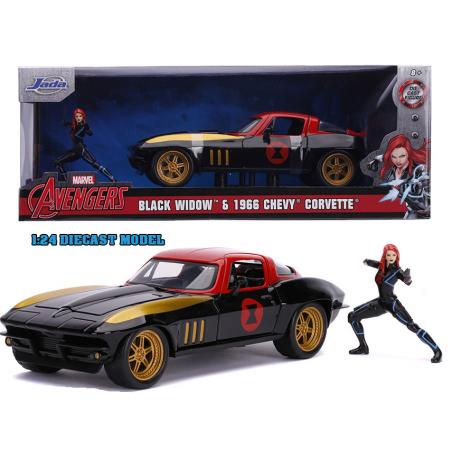 AVENGERS BLACK WIDOW 1966 CHEVY CORVETTE DIE CAST 1/24 MODEL CAR