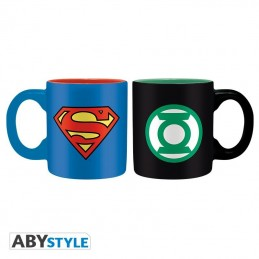 DC COMICS SUPERMAN AND GREEN LANTERN MINI MUG TAZZINE IN CERAMICA ABYSTYLE