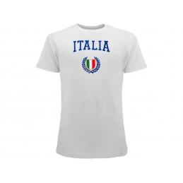 MAGLIA T SHIRT ITALIA SCUDETTO RICAMATO BIANCA