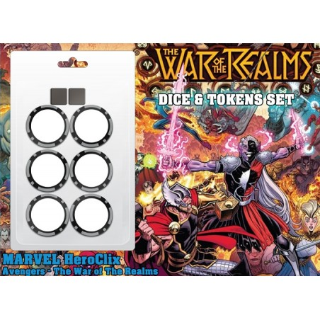 MARVEL HEROCLIX AVENGERS THE WAR OF THE REALMS DICE AND TOKENS SET