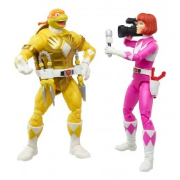 HASBRO POWER RANGERS X TMNT MORPHED APRIL O'NEIL AND MORPHED MICHELANGELO ACTION FIGURE
