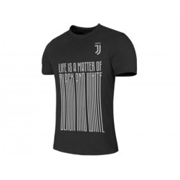MAGLIA T SHIRT UFFICIALE JUVENTUS FC LIFE IS A MATTER OF BLACK AND WHITE SCRITTA ALLUNGATA