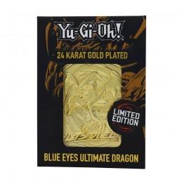 YU-GI-OH! LIMITED EDITION BLUE EYES MAGICAL DRAGON GOLD CARTA IN METALLO FANATTIK