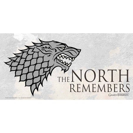 GAME OF THRONES GLASS POSTER - NORTH REMEMBER 25 X 50 CM
