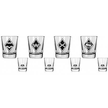 BATMAN V SUPERMAN MINI GLASSES SET - 4 BICCHIERI SHORTINI