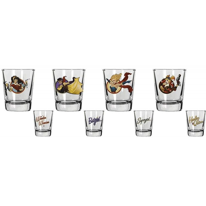 DC COMICS BOMBSHELLS MINI GLASSES SET - 4 BICCHIERI SHORTINI