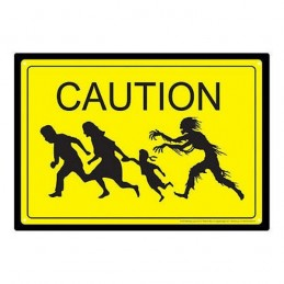 ZOMBIE CAUTION METAL TIN SIGN TARGA METALLO 20X29