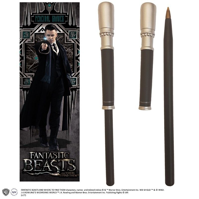 FANTASTIC BEAST - PERCIVAL GRAVES WAND PEN AND BOOKMARK PENNA E SEGNALIBRO NOBLE COLLECTIONS