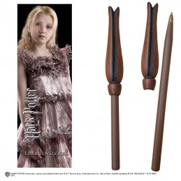 NOBLE COLLECTIONS HARRY POTTER - LUNA LOVEGOOD WAND PEN AND BOOKMARK PENNA E SEGNALIBRO