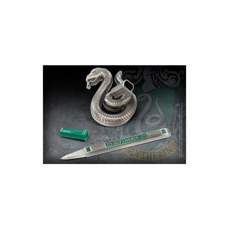 HARRY POTTER - SLYTHERIN SERPEVERDE METAL PEN DESK STAND PENNA CON BASE NOBLE COLLECTIONS