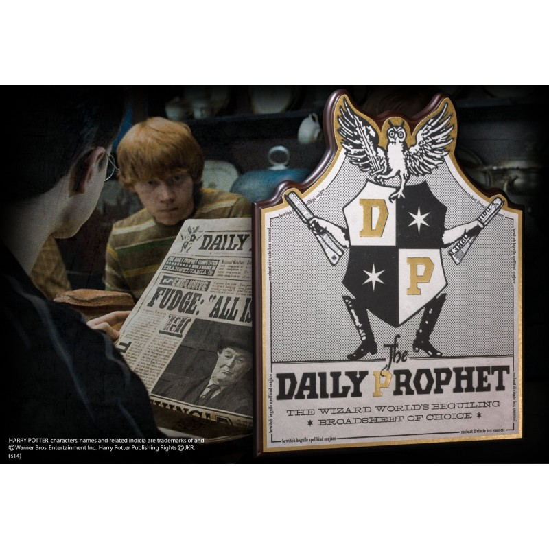 HARRY POTTER - THE DAILY PROPHET PLAQUE INSEGNA IN LEGNO 35X30CM NOBLE COLLECTIONS