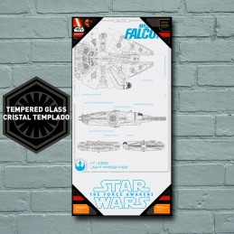 STAR WARS GLASS POSTER - MILLENNIUM FALCON BLUEPRINT 25 X 50 CM SD TOYS