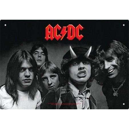 AC/DC HIGHWAY TO HELL METAL TIN SIGN TARGA METALLO 20X29