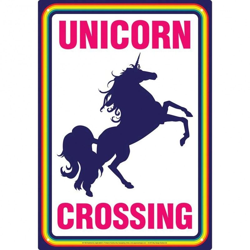 UNICORN CROSSING METAL TIN SIGN TARGA METALLO 20X29