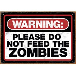 ZOMBIE WARNING METAL TIN SIGN TARGA METALLO 20X29