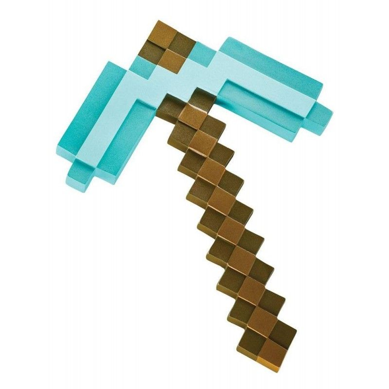 MINECRAFT PLASTIC REPLICA DIAMOND PICKAXE 40CM PICCONE