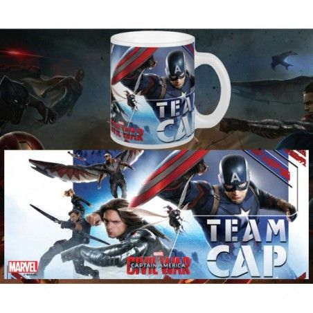 CAPTAIN AMERICA CIVIL WAR TEAM CAP MUG TAZZA IN CERAMICA