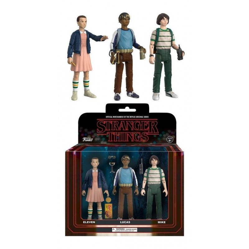 STRANGER THINGS 3-PACK MIKE ELEVEN LUCAS REACTION 8 CM ACTION FIGURES