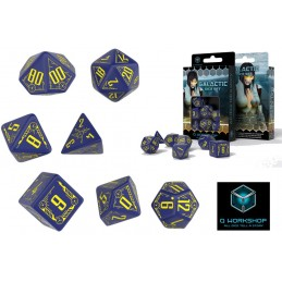 GALACTIC DICE SET NAVY-YELLOW 7 DADI