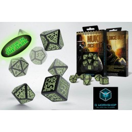 NUKE DICE SET GLOW IN THE DARK 7 DADI FOSFORESCENTI
