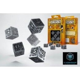 Q WORKSHOP STEAMPUNK METAL DICE SET 5 DADI D6 IN METALLO