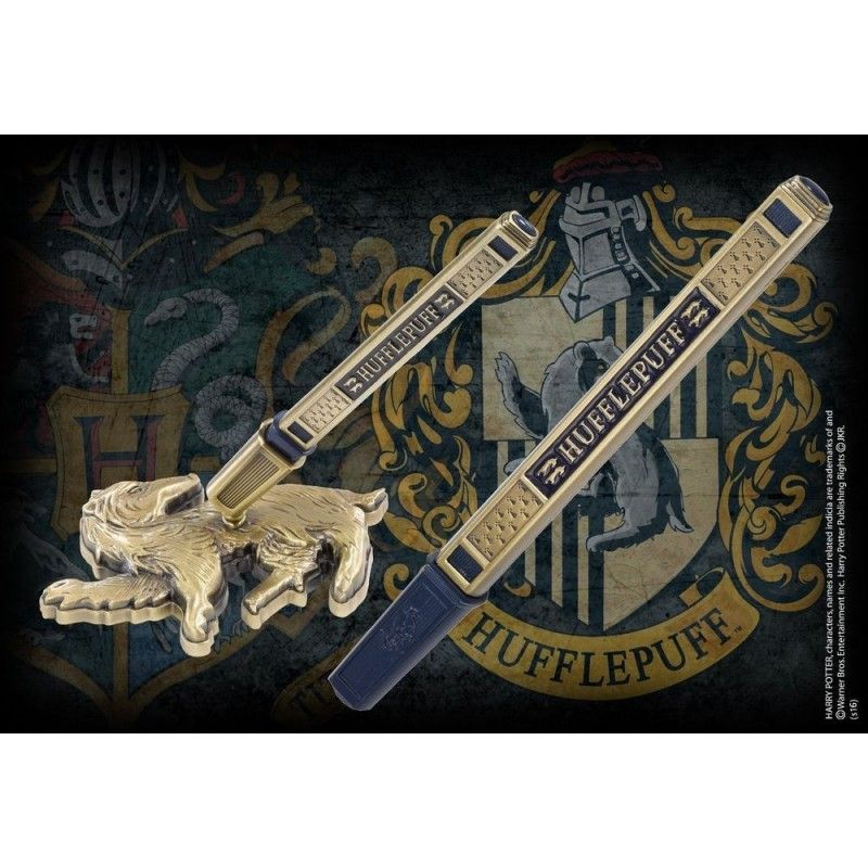 NOBLE COLLECTIONS HARRY POTTER - HUFFLEPUFF METAL PEN DESK STAND PENNA CON BASE