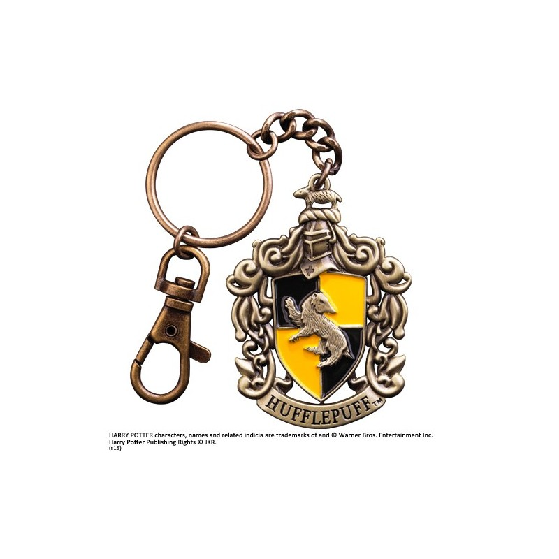 HARRY POTTER HUFFLEPUFF CREST METAL KEYCHAIN PORTACHIAVI IN METALLO NOBLE COLLECTIONS