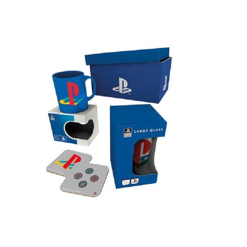 SONY PLAYSTATION GIFT BOX PACCO REGALO CON TAZZA BICCCHIERE E SOTTOBICCHIERI GB EYE