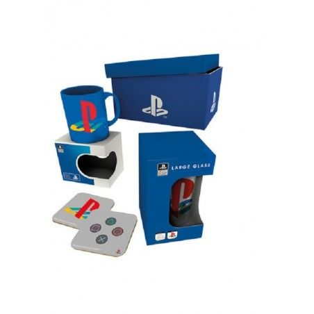 SONY PLAYSTATION GIFT BOX PACCO REGALO CON TAZZA BICCCHIERE E SOTTOBICCHIERI