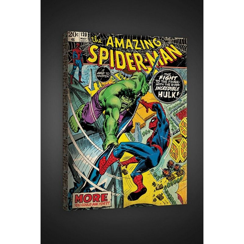FOR WALLS THE AMAZING SPIDER-MAN VS HULK STAMPA SU TELA CANVAS 40 X 60 CM