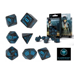 GALACTIC DICE SET BLACK-BLUE 7 DADI
