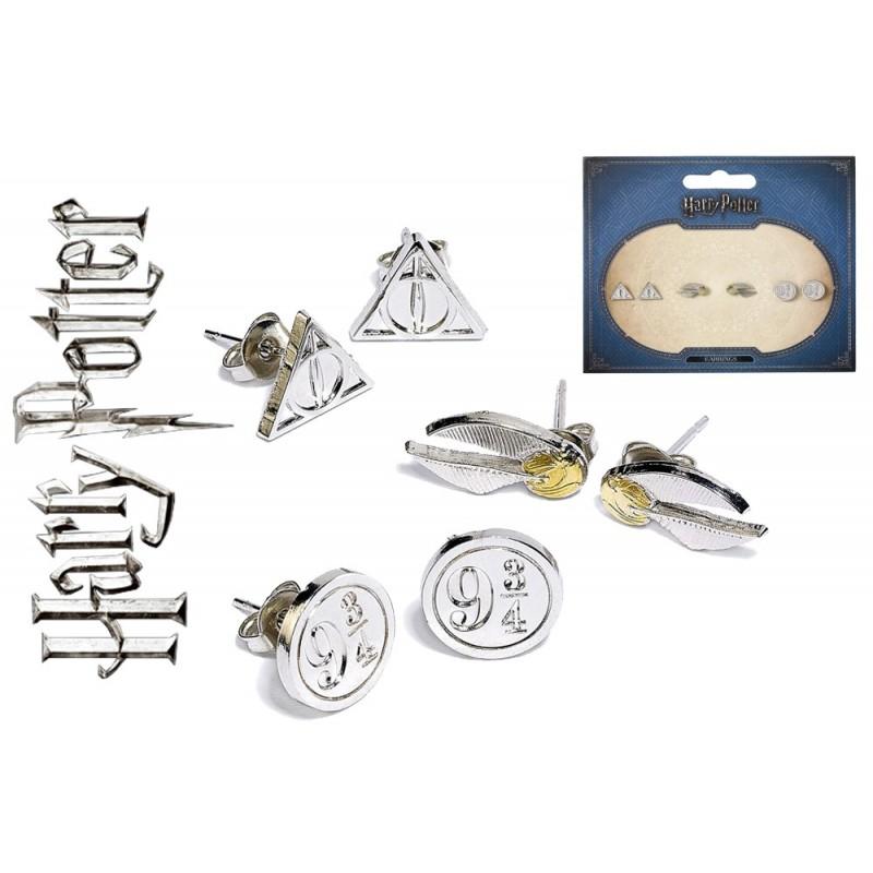 HARRY POTTER - SET OF 3 METAL EARRINGS - 3 PAIA ORECCHINI