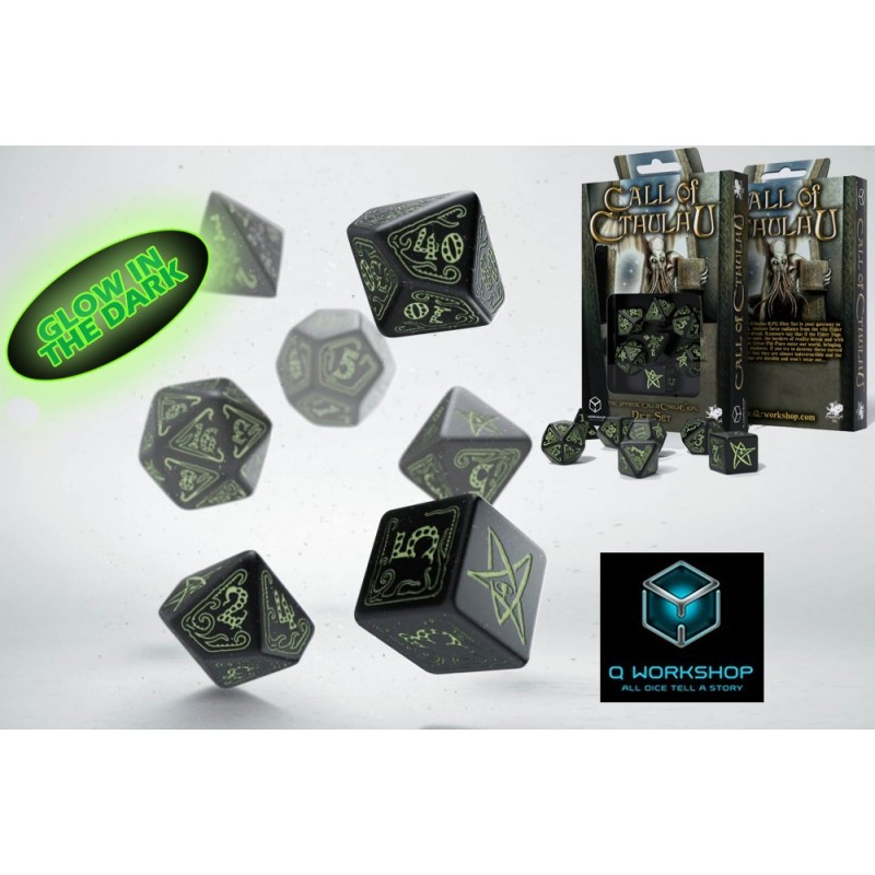 CTHULHU GLOW IN THE DARK DICE SET 7 DADI Q WORKSHOP