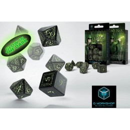 ELVISH GLOW IN THE DARK FLUORESCENTI DICE SET 7 DADI Q WORKSHOP