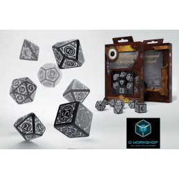 STEAMPUNK CLOCKWORK BLACK AND WHITE DICE SET 7 DADI Q WORKSHOP