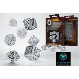 STEAMPUNK CLOCKWORK WHITE AND BLACK DICE SET 7 DADI Q WORKSHOP
