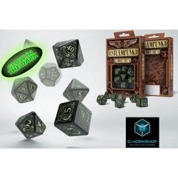 STEAMPUNK GLOW IN THE DARK DICE SET 7 DADI Q WORKSHOP