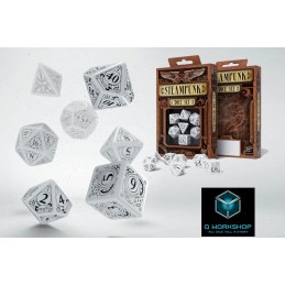 STEAMPUNK WHITE AND BLACK DICE SET 7 DADI Q WORKSHOP