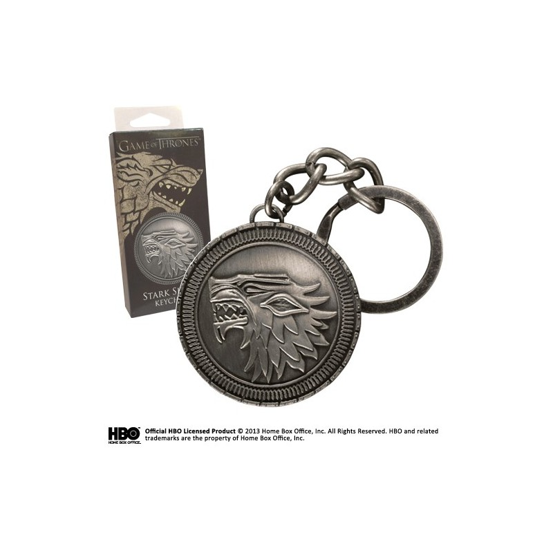 GAME OF THRONES STARK SHIELD METAL KEYCHAIN PORTACHIAVI KEYRING NOBLE COLLECTIONS